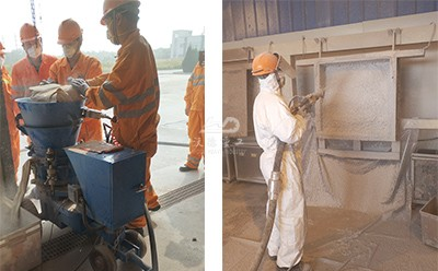 Refractory gunning machine in cement factory