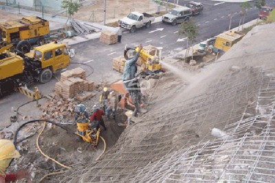 dry concrete shotcrete machine application