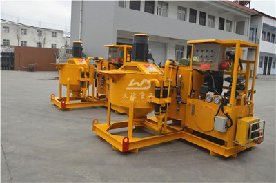 Grouting pump with mixers