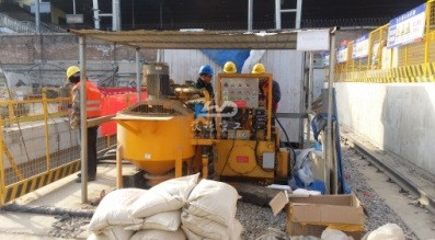 Grouting pump with mixer