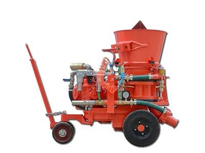 Dry spraying refractory gunite machine applied in steel plant